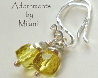 Yellow and Gray Earrings Gemstone Beaded Sterling Silver Small Petite Bridal Party Gifts Bridesmaids
