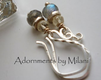Gray and Yellow Earrings Gemstone Sterling Silver Beaded Small Short Labradorite