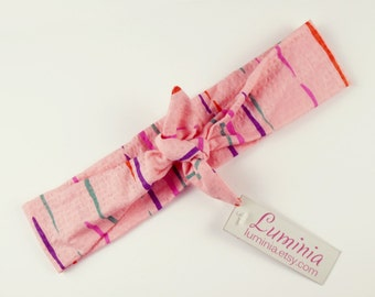 Vintage 80s fabric headband hairband tie up headscarf vibrant pink stripe retro vintage fabric 022
