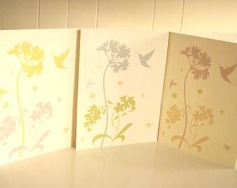 Flora and Hummingbird Printed Card Set of 3