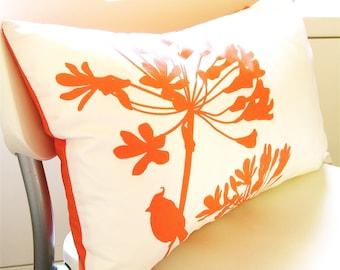 Orange Print on Off- White Cardinal on Agapanthus Rectangle Pillow