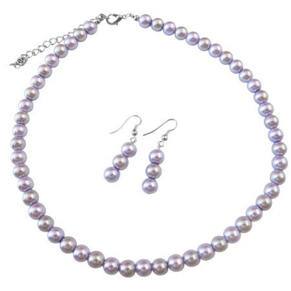 Inexpensive Light Lilac & Victorian Lilac Wedding Pearls Necklace Set Under 10 Free Shipping In USA