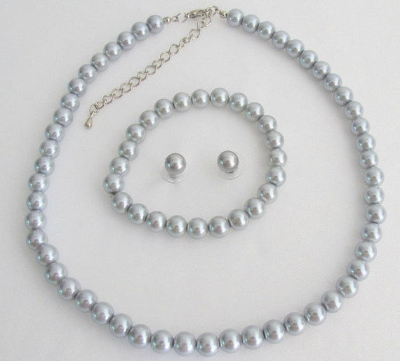 Silver Gray Pearl Necklace Earrings,Wedding Lite Gray Pearl Jewelry Bridesmaid Wedding  Necklace Earrings Bracelet Set Free Shipping In USA