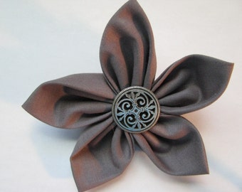 Gray Fabric Flower Brooch