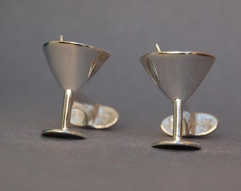 Sterling silver Martini glass cufflinks
