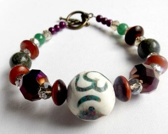 Om Unique Handmade Beaded Bracelet