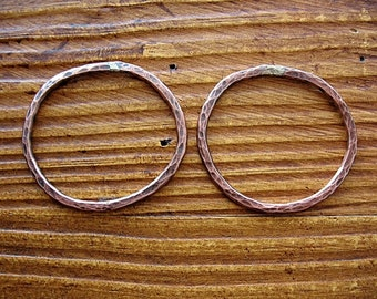 Hammered Organic Shaped Hoops in Antiqued Copper - 1 pair