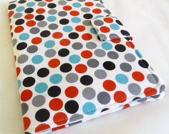 Polka Dot iPad Mini Cover, Blue, red, Grey and Black Soft book Style Cover / Case