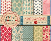 80% off Annabelle digital scrapbook paper with textured, tea stained, quatrefoil, floral, shabby chic, red, blue Instant Download, Lilly Bim