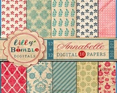 50% off sale Annabelle digital scrapbooking papers with textured, tea stained, quatrefoil, floral, shabby chic, red, blue Instant Download