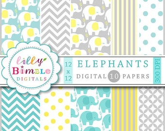 60% off Elephant digital paper in neutral yellow, grey, teal for baby showers, cards, invites, scrapbooking Instant Download