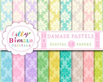 80% off Damask Pastels digital paper, scrapbook, pink, green, yellow, blue, teal, Instant Download, commercial use, Sale