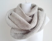 Oatmeal Pure Wool Infinity Scarf Loop Blanket Scarf Natural SAMANTHA Ready to Ship