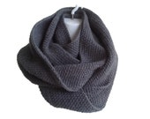Charcoal Grey Infinity Scarf Slate Neckwarmer Wool Blend SAMANTHA Ready to Ship