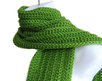 Lime Green Scarf Crochet Light Green Men Unisex Classic GABLE Ready to Ship
