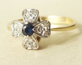 Vintage Sapphire & Diamond Flower Ring, Sapphire, Diamond and 9k Gold Ring, Approximate Size US 6.5