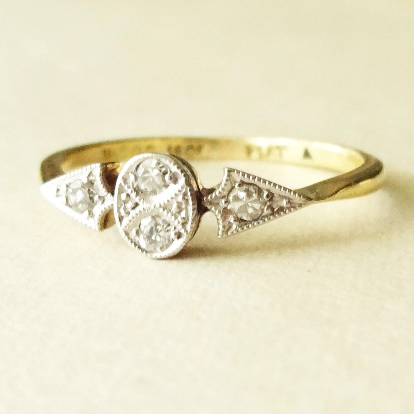 Art deco geometric old cut diamond ring antique 18k gold for Geometric wedding ring