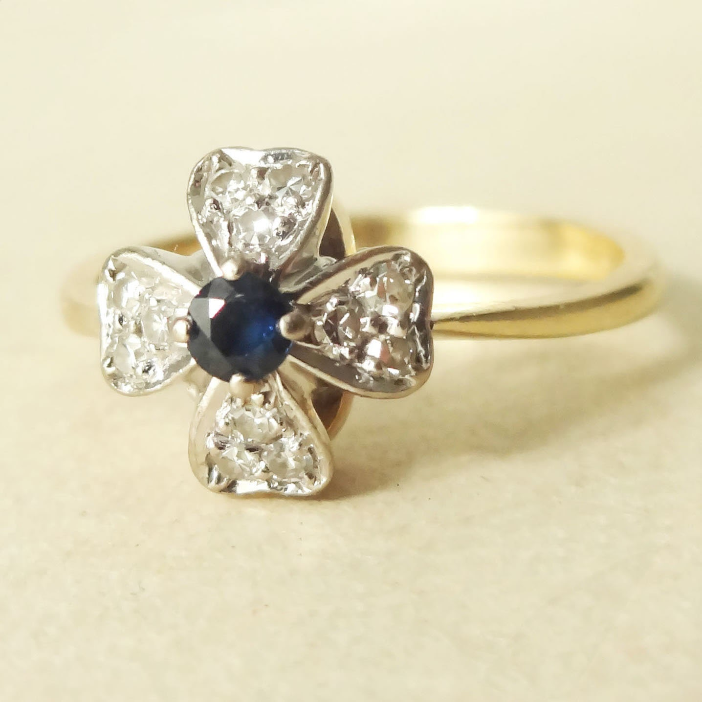 Vintage Sapphire & Diamond Flower Ring Sapphire Diamond and