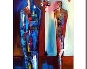 Abstract painting Modern pop Art print Contemporary colorful figure decor by Fidostudio