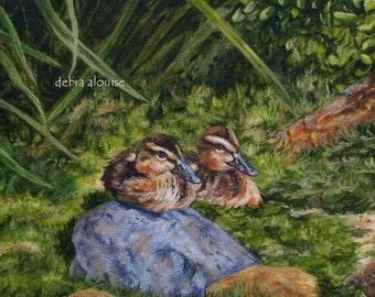 Sitting Ducks Baby Wild Ducklings Original Oil Painting by California Artist Debra Alouise