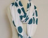 Teal Dot White circle scarf