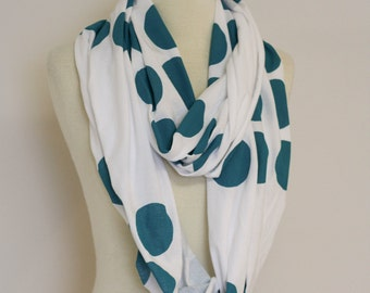 Teal Dot White circle scarf