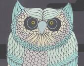 Ao Owl screenprint 19x25in
