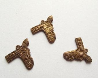 Vintage brass Western cowboy charms