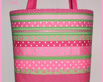 Pink Lime Tote Diaper Bag 3 pc set Polka Dots Cosmetic Tissue Case Made in USA