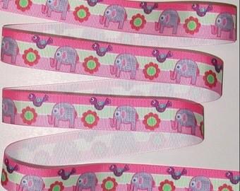 Elephants Grosgrain Ribbon Pink Purple Birds Red Flowers Lavender Elephant 7/8 Wide