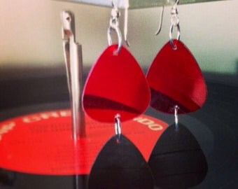 Red and Black Vinyl Record Earrings - Double Guitar Pick Dangle Earrings made from Recycled Vinyl Records