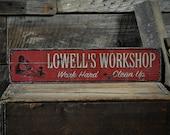 Custom Workshop Work Hard Clean Up Sign - Rustic Hand Made Vintage Wooden ENS1000600
