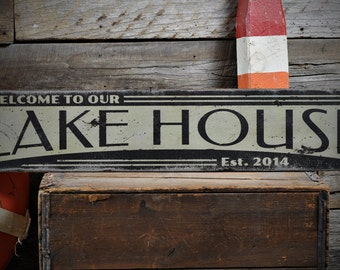 Custom Welcome Lake House Sign - Rustic Hand Made Vintage Wooden ENS1001108