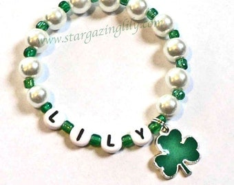 St. Patrick's Day Jewelry Personalized Name Bracelet Shamrock with 4 leaf clover Charm Party Favor Infant Children Kid Adult Sizes