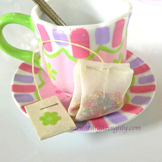 Toy Tea Bags Teeny Tiny Tin of Tea Bags Doll Size Pretend Play 18 inch doll size. Little girls tea party