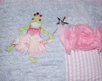 Boutique Chenille Tooth Fairy Pillow Grace Frog Princess Shabby Rose Blue Pink