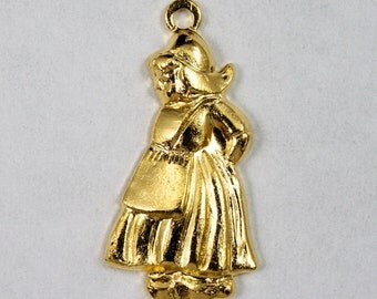 21mm Gold Dutch Girl Charm #2154