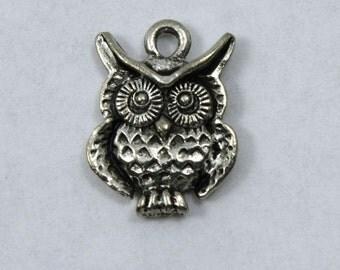 15mm Antique Silver Owl Charm #CMA757