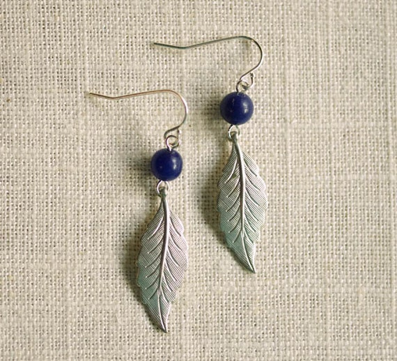 CLEARANCE . tea leaves . silver . lapis . IMPERFECT