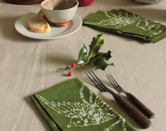 olive green christmas birds napkins