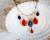RESERVED- vintage carnival chic bib style necklace- brass geometric primary colors-triangles red and blue