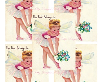 Vintage Little Girl's Ballerina Printable Digital Image Book Plates/Stickers (434)