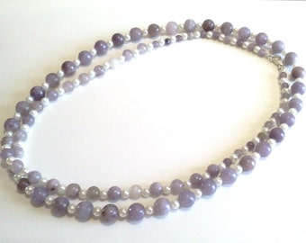 Natural Lilac Stone Single Strand Long Purple Beaded Necklace, White Glass Pearl Jewelry, Purple Bead Jewelry, Handmade