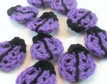 Purple Crochet Ladybug Appliques, Crochet Ladybug Embellishment, Scrapbooking, Crochet Ladybug Motif, Set of 10