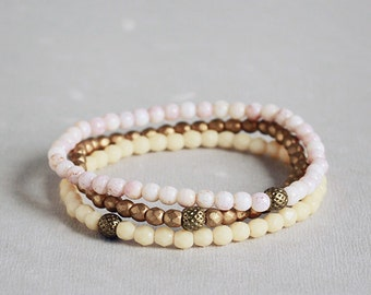 Pale pink, champagne luster, matte gold Czech glass skinny bracelet stack - Venus
