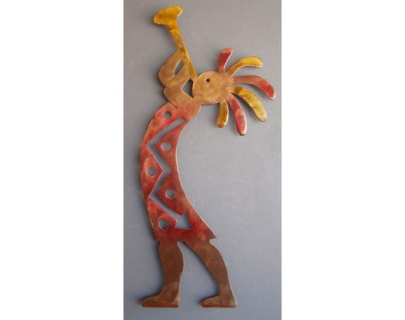 Kokopelli Metal Wall Hanging, Rust with Red and Yellow accents, Left facing Trumpet, Large, Southwest Art, 35 inch
