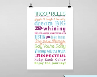 Scout Troop Rules Subway Art Printable Wall Art by BitsyCreations Instant Download