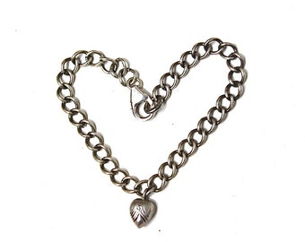 Sterling Silver Link Chain Bracelet with Heart Charm