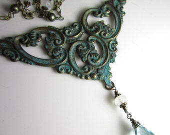 Victorian Smoke Necklace - Vintage Brass Stamping and Aquamarine with Moonstone