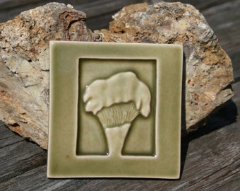 Chantrelle Mushroom Tile - olive green glossy glaze - handmade ceramic art ile for kitchen, bath, fireplace, or wall decoration